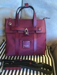 Henri Bendel burgundy Red Mini Jetsetter Backpack Saffiano Leather with Dustbag $225.00