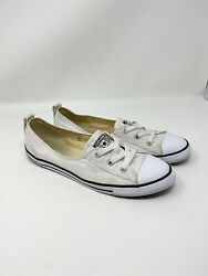 Converse all Star Women Size 9.5 Slip On White Low Top Fabric 547167F $19.97