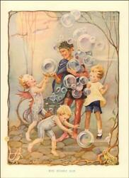 WINGED CHILDREN PLAY UNDERWATER with BUBBLES by Baisley antique print 1910 $25.00