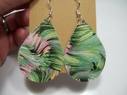 1 pair Faux Leather Earrings Green and Pink Sparkle Less Than 2 inches $2.00