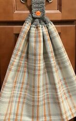Double hanging kitchen towel fall plaid Orange gray crocheted gray top $12.00