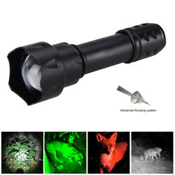 T20 38mm Red Green White IR LED Infrared 850nm 940nm Hunting Zoom Flashlight $18.99