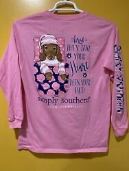 Women's Simply Southern T shirt color pink long sleeves Size Small BED TIME $18.99