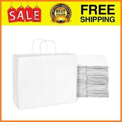 100 Pcs White Paper Bags With Handles Shopping Bags Gift Bags Kraft Bags White $54.99
