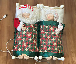 Vintage Telco Sleeping Mr. And Mrs. Santa Clause Snoring TESTED WORKS 22x10 $59.49