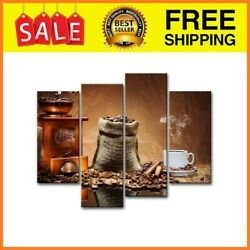 Coffee Wall Art Kitchen Decor Brown Coffee Beans and Cup Plate $46.99