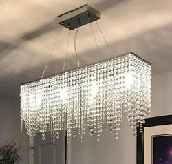 Moooni Rectangular Crystal Chandelier for Dining Room Kitchen L31.5quot; x W8quot; $90.00