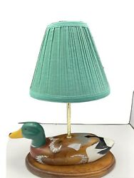 Wooden DUCK DECOY TABLE LAMP VINTAGE Shade Nice. $32.95