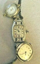 Womens Antique Vintage wrist watches SOLID 14k GOLD with 4 Sapphires $225.00