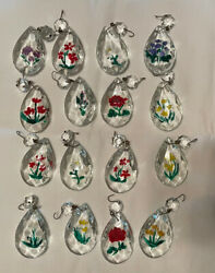 Lot of 16 Vintage Hand Painted Floral Glass Crystal Chandelier Prisms Clear 2quot; $26.00