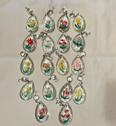 Lot of 18 Vintage Hand Painted Floral Glass Crystal Chandelier Prisms Clear 2quot; $26.00