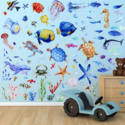116 Pieces Under The Sea Wall Decals Jellyfish Wall Stickers Fish Ocean Wall and $17.39
