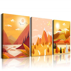 Golden Abstract landscape painting 3 Panels Framed Wall Art for Living Room Wall $123.24