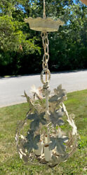 Vtg Petite Cage Tole Pendent Chandelier White Cream Gold Leaf Shabby Chic Style $65.00