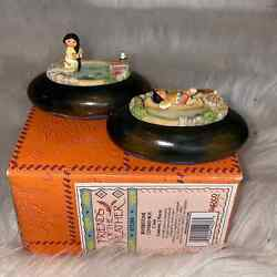 Friends of The Feather Riverstone 2 Piece Covered Boxes NEW Enesco $25.00