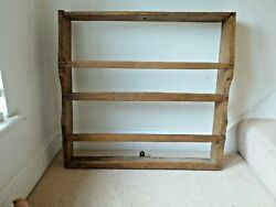 19th C. Wall Hanging Antique Pine Plate Rack. GBP 75.00