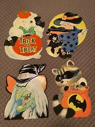Lot Of 4 Vintage Die Cut 2 sided Halloween Wall Decorations Decor Witch $29.99