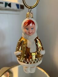 Vintage? Glass Christmas Ornament Red Haired Blue Eyed Eskimo Russia? $9.99