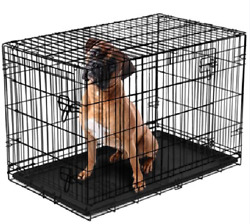 Vibrant life Double Door Folding Dog Crate with Divider XX Large 48quot; $65.98