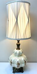 Vintage HOLLYWOOD REGENCY Table LAMP amp; DRUM pleated Shade MCM Pearl Glass Daisy $125.97