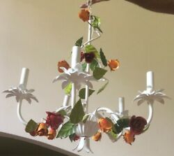 Vintage Italian Tole Chandelier French Farmhouse Floral Roses $265.00