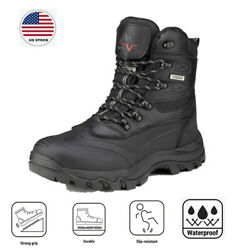 Men#x27;s Winter Insulated Snow Boots Waterproof Construction lace up Rubber Sole $42.73