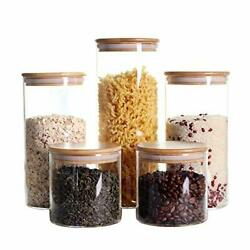 Stackable Kitchen Canisters Set Pack of 5 Clear Glass Food Storage Jars $48.44