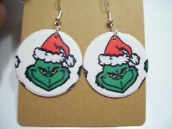 Faux Leather Earrings Mr. Grinch 1.25 Inches No White Backs $2.00
