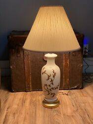 Vintage lamp white with brown leaves and gold boo $50.00