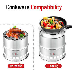 Stainless Steel Foldable Camping Wood Stove BBQ Portable Cooking Stove Outdoor $16.99