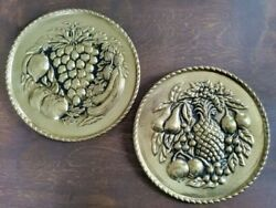 Vintage Metal Fruit Gold Finish Wall Décor Made in England Set of 2 $25.00