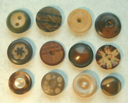 12 SMALL VINTAGE VEG. IVORY BUTTONS CARVED ETCHED GLITTER WHISTLE SHELL CENTER $8.00