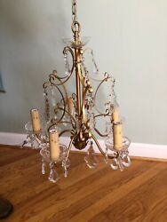 1950s Louis XV French Chandelier Crystals Crystal Bobeches 6 Lights $415.00