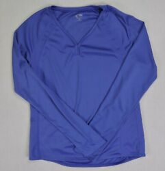 C9 by Champion womens juniors active top small blue long sleeve v neck pullover $9.77