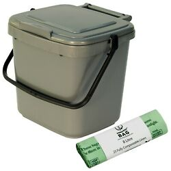 Kitchen Compost Caddy amp; 25x 8L Compostable Bags Silver Food Waste Recycling 7L GBP 11.99