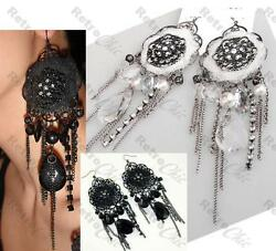 5quot;long LACE VICTORIAN gothic BIG CHANDELIER EARRINGS vintage rhinestone crystal GBP 3.88