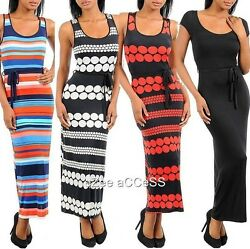 SeXY WoMeNS RaCeR BaCK BeLT Tie FiTTeD STReTCHY LoNG MaXi SuMMeR SuN DReSS SML