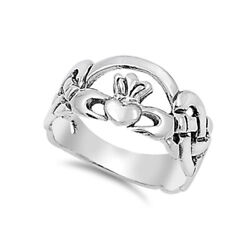 .925 Sterling Silver Irish Heart Claddagh Crown Promise Ring Size 4 to 12 NEW