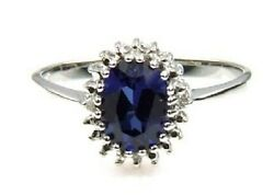 Oval Created Sapphire Diamond Cluster Ring Sterling Silver