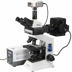 AmScope 100x-2000x Infinity Plan Fluorescent Microscope + 5MP Fluo Camera