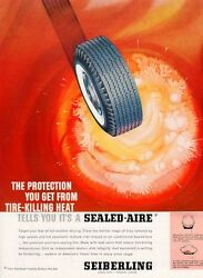 1961 Seiberling Tire PRINT AD Whiteway White Wall over molten Heat Frame it $11.24