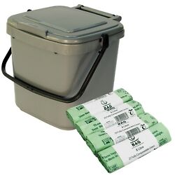 Kitchen Compost Caddy amp; 100x 8L Compostable Bags Silver Food Waste Recycling 7L GBP 15.99
