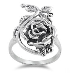 .925 Sterling Silver Vintage Flower Rose Fashion Ring Size 4 12 NEW $21.95