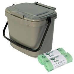 Small Silver Kitchen Compost Caddy amp; 100x Compostable Bags Food Bin 5L 5 Litre GBP 12.99