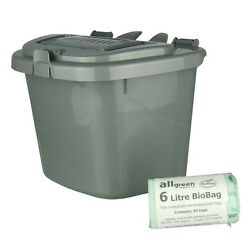 Silver Kitchen Compost Caddy Bin amp; 50x 6L Biobags Food Recycling 5 Litre GBP 9.99