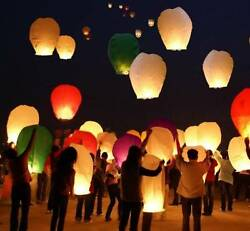 10 Paper Chinese Lanterns Sky Fly Candle Lamp for Wish Party Wedding US seller