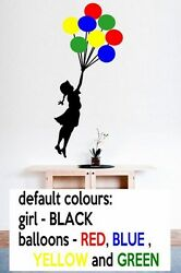 Banksy Girl with Colourful Balloons Ver 2 Enhanced Wall Stickers Many colours