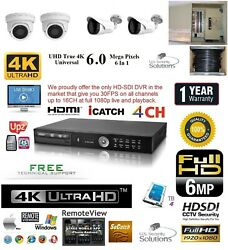4CH Security Network DVR HD-SDI System Package 4TB HD 2 Indoor 2 Outdoor Camera