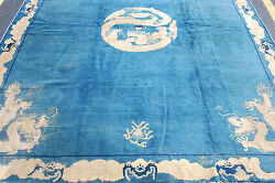 EARLY 1800s ANTIQUE IMPERIAL NINGXIA CHINESE RUG 7.9x9.2 FIVE CLAW DRAGON DESIGN
