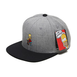 Unisex Mens The Simpsons Bart Skateboard Baseball Cap Snapback Hats Gray